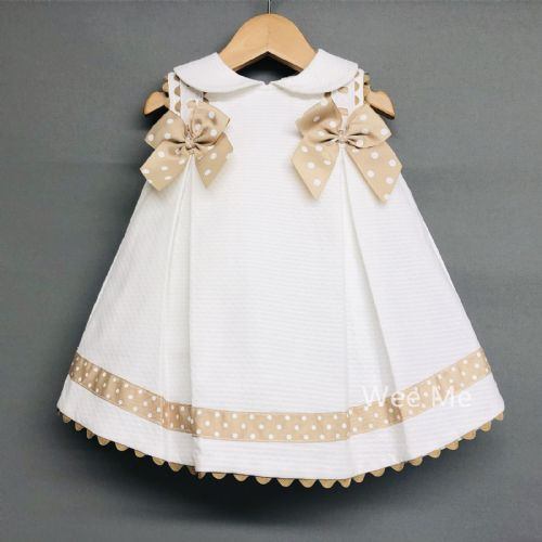 Baby Girl Spanish White Princess Dress with Beige Polka Dots Bow